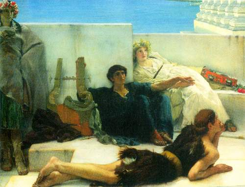 Alma-Tadema - A reading of Homer, detail [1]